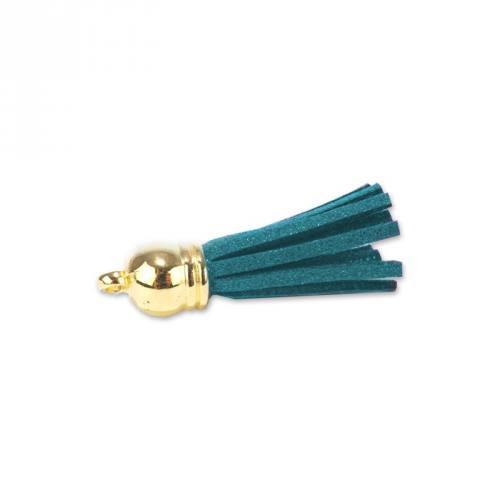 Pompon franges suédine bleu canard 37 mm