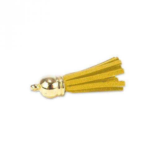 Pompon franges suédine jaune 37 mm