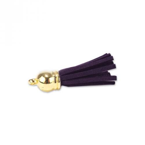 Pompon franges suédine violet foncé 37 mm