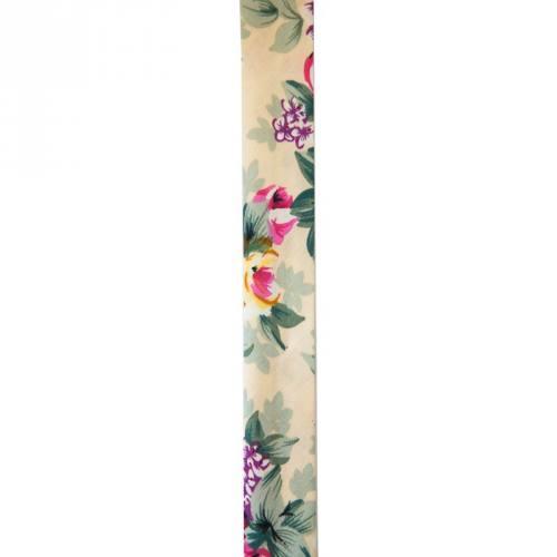 Biais replié 25 mm beige à fleurs