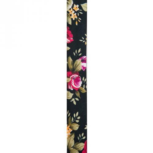 Biais replié 25 mm noir à fleurs