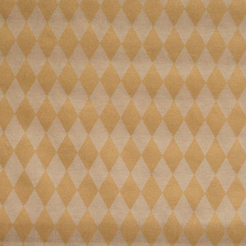 Toile coton effet lin imprimée losange or