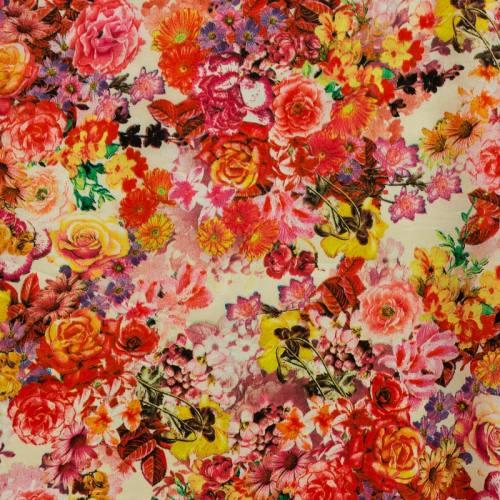 Satin impression numérique écru à fleurs roses