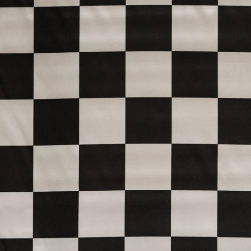 Satin damier noir et blanc 7 cm
