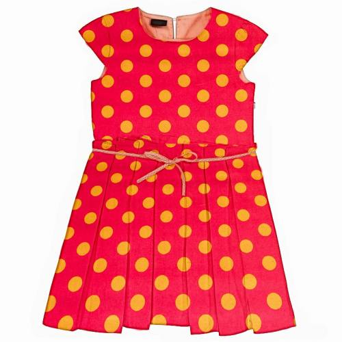 Satin rose pois jaune