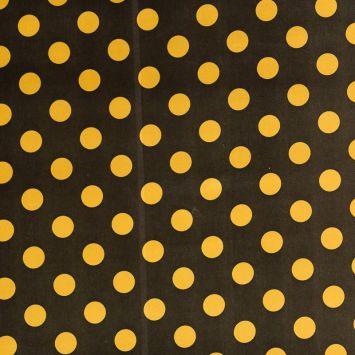Satin noir pois jaune
