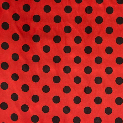 Satin rouge pois noir