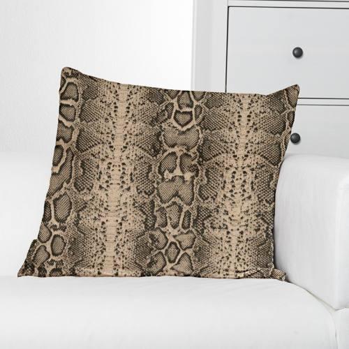 Toile coton effet lin imprimée peau de serpent noire