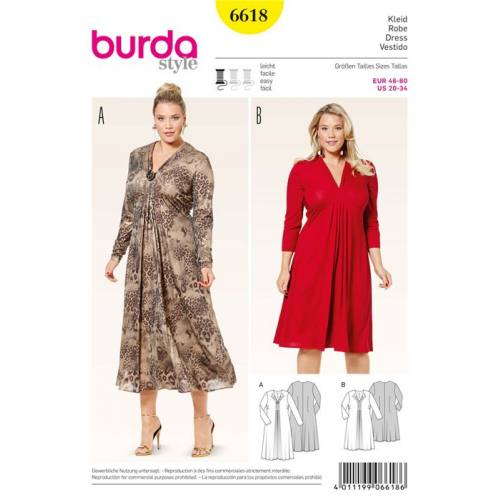 Patron Burda 6618 : Robe Taille : 46-60