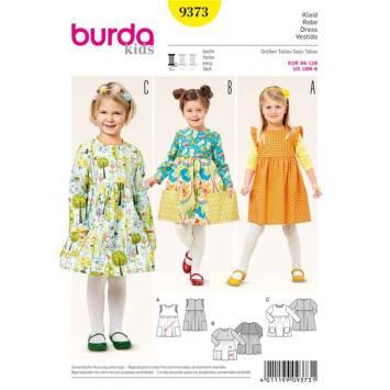 Patron Burda 9373: Robe Taille : 86 à 116 cm