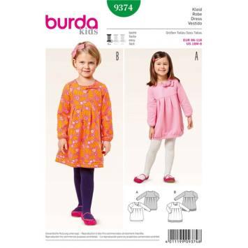 Patron Burda 9374: Robe Taille : 86 à 116 cm