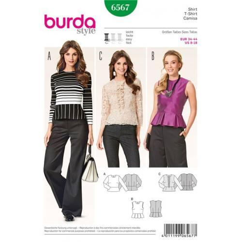 Patron Burda 6567 : T-shirt Taille : 34-44