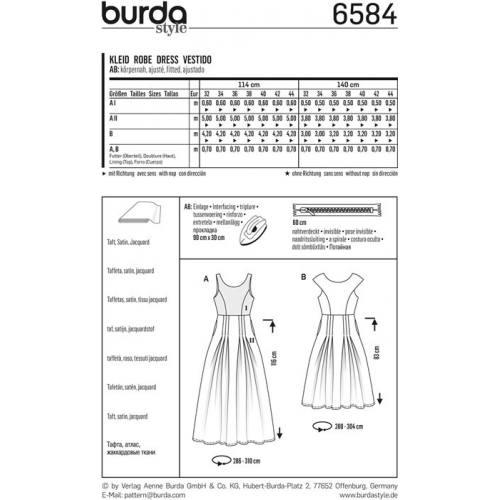 Patron Burda 6584 : Robe Taille : 32-44