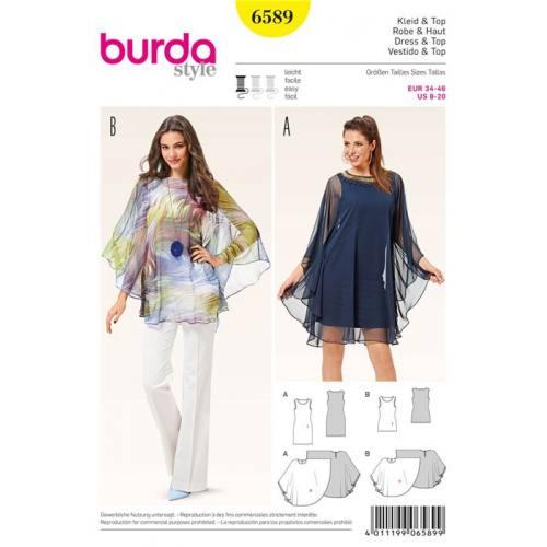 Patron Burda 6589 : Robe & Haut Taille : 34-46