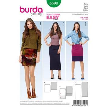 Patron Burda 6598 : Jupe Taille : 32-46