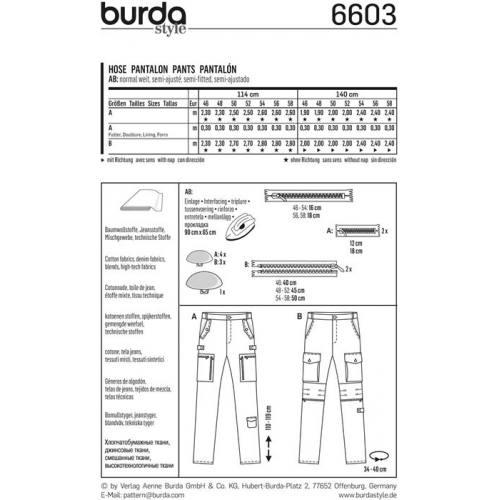 Patron Burda 6604 : Pantalon Taille : 46-58