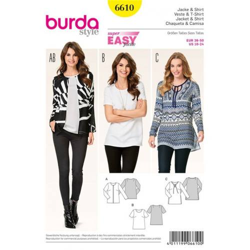 Patron Burda 6610 : Veste & T-shirt Taille : 36-50