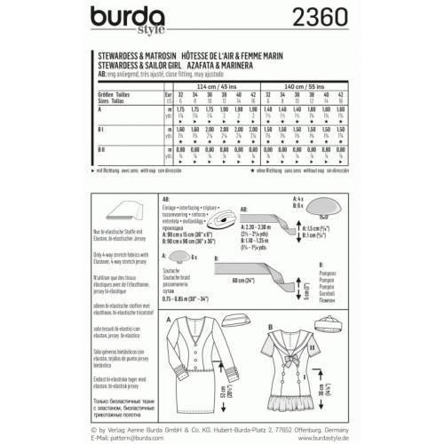 Patron Burda 2360 Carnaval : Hôtesse de l'air & Femme marin Taille: 32-42