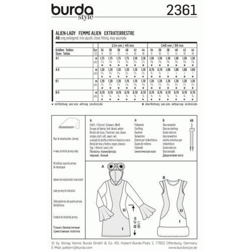 Patron Burda 2361 Carnaval : Femme Alien Taille: 34-44