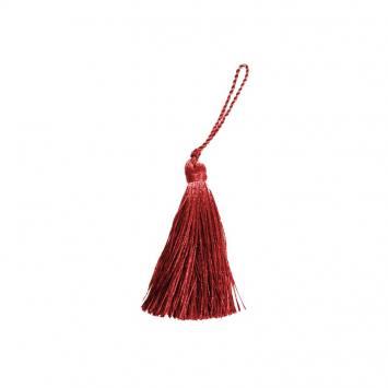 Pompon franges rouge 7 cm