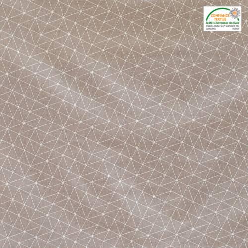 Coton taupe motif graphique blanc
