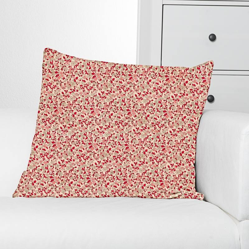 Coton écru liberty rouge