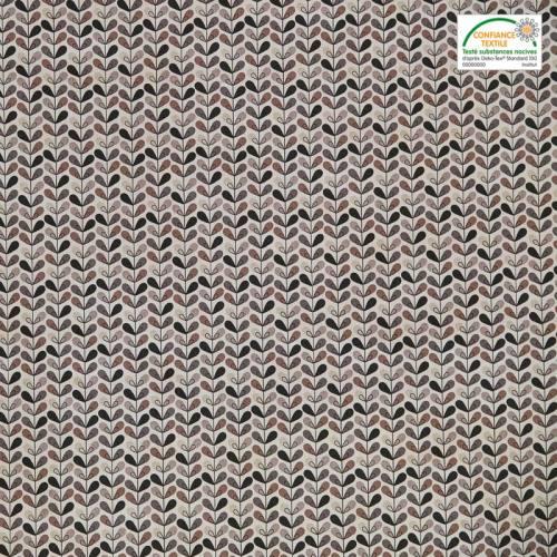 Coton écru motif feuille noire, grise et taupe