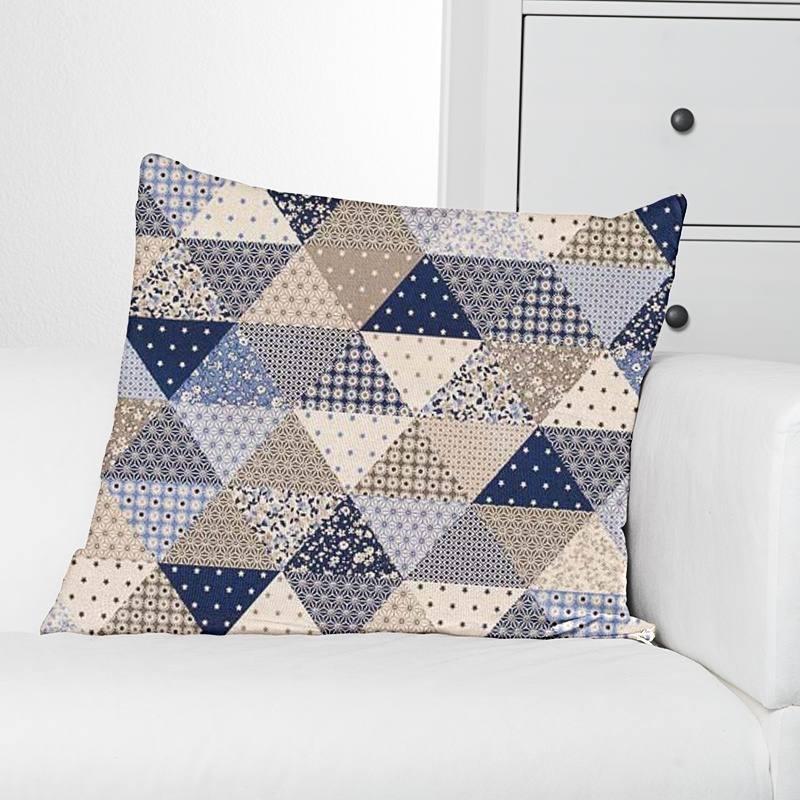 Coton bleu imprimé patchwork