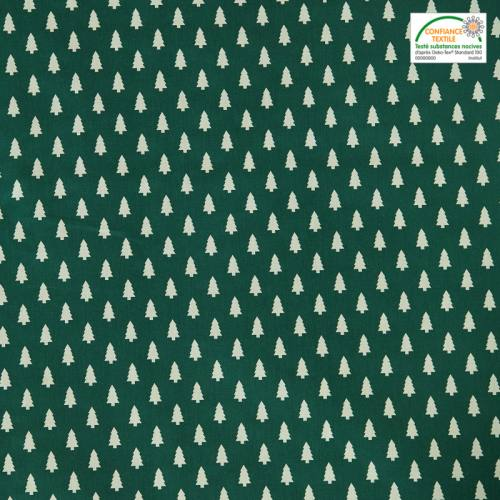 Coton vert imprimé petit sapin blanc
