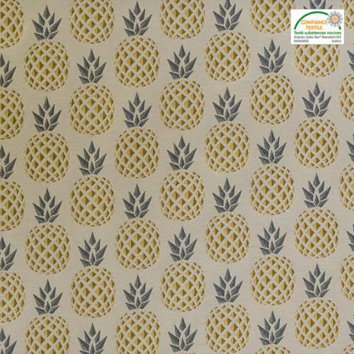 Jacquard écru motif ananas doré