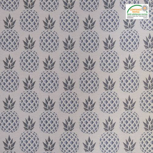 Jacquard écru motif ananas gris