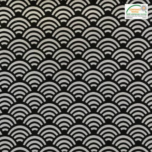 Jacquard noir motif seigaiha