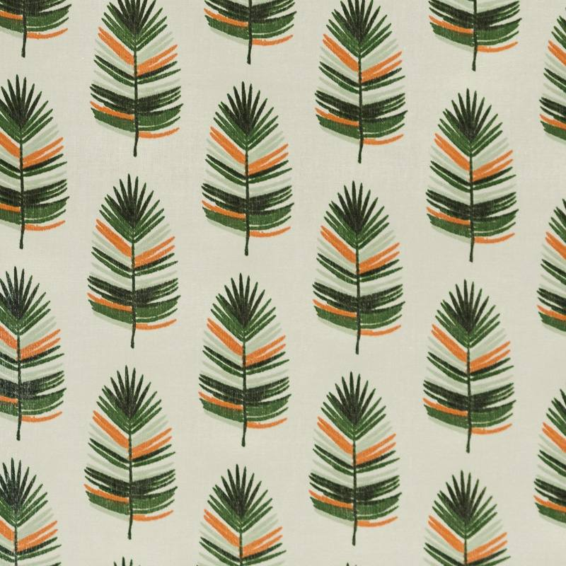 Coton écru imprimé plume orange