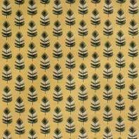 Coton jaune imprimé plume