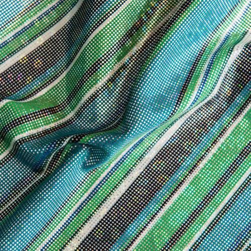Coupon 0.8m - Lycra noir, bleu et vert motif rayures brillantes