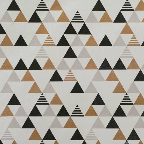 Coton blanc à motif triangle bronze, gris et noir