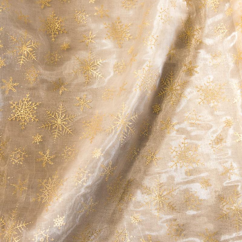 Organza Noël doré motif flocon