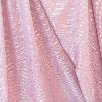 Lycra rose pastel écailles brillantes