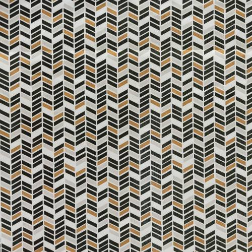 Coton blanc, noir et cuivre motif flèche