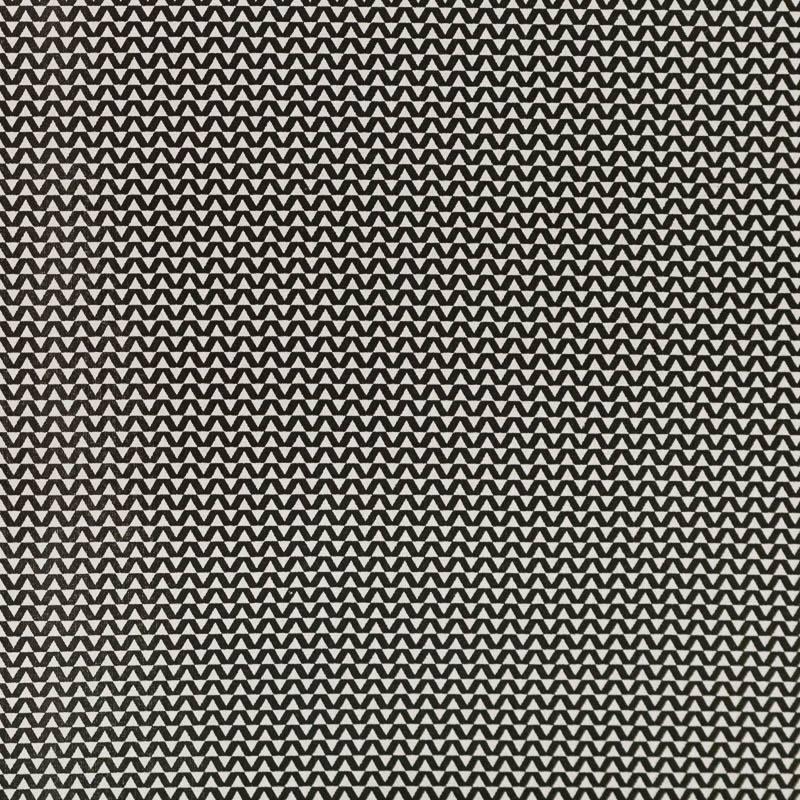 Coton blanc motif petit chevron noir
