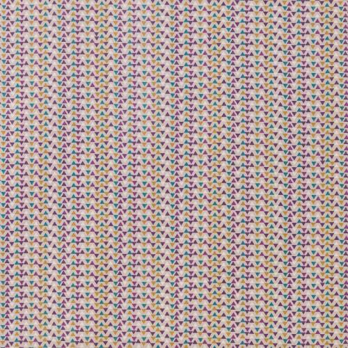 Coton beige imprimé petit triangle violet, bleu et ocre