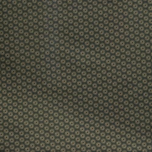 Coton gris imprimé rosace taupe