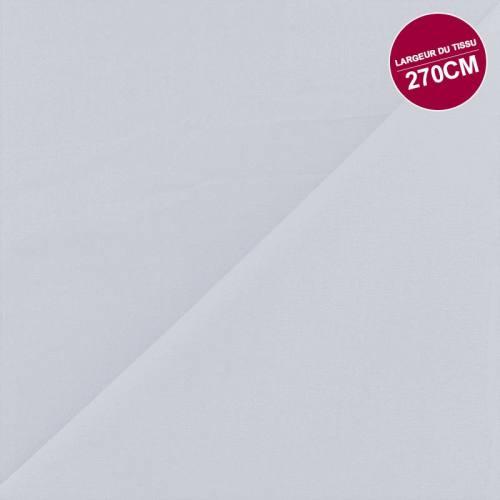 Coton percale uni gris perle grande largeur