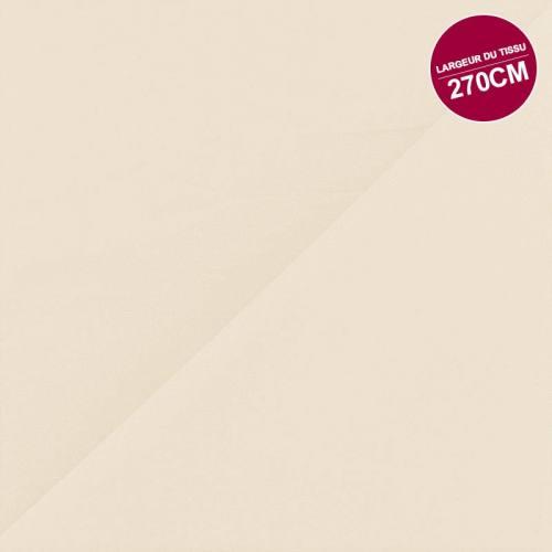 Percale satin de coton ivoire uni grande largeur
