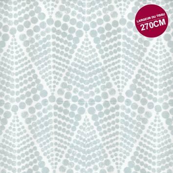 Coton percale blanc motif gros pois grande largeur