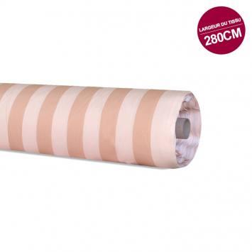 Rouleau 50m coton percale à rayures peche et saumon grande largeur