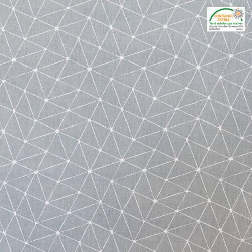 Coton gris motif graphique blanc
