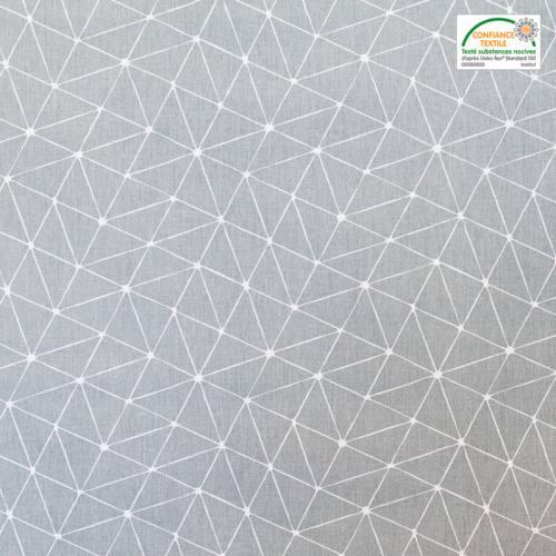 Coton argent motif graphique blanc