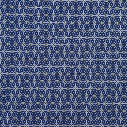 Jacquard bleu à petit motif asanoha blanc