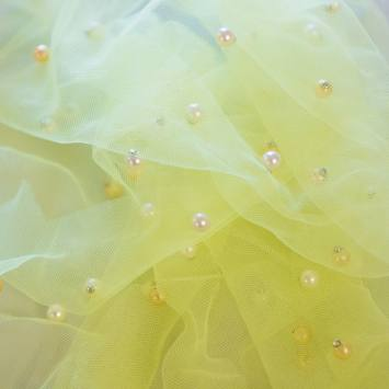 Tulle jaune perlé